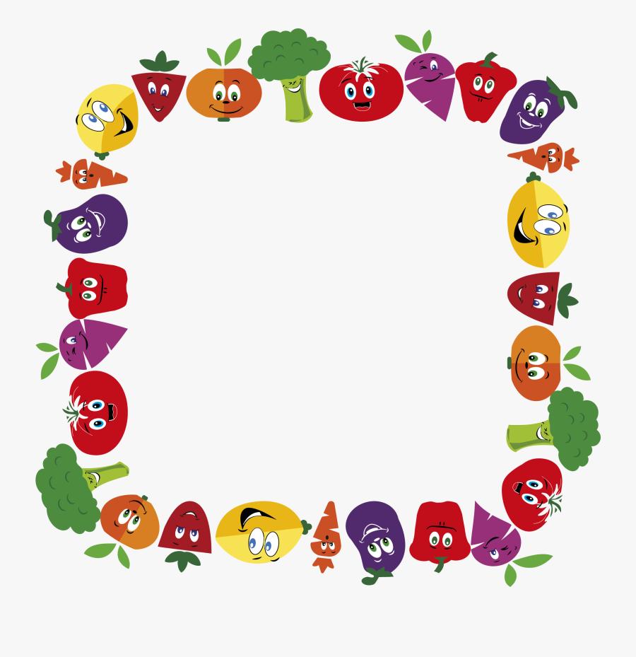 Transparent Frame Clip Art - Fruits And Vegetables Border, Transparent Clipart