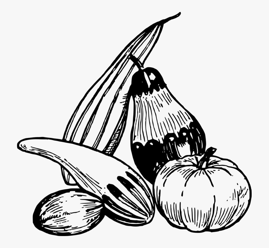 Monochrome Plant - Vegetable Clipart Black And White Png, Transparent Clipart