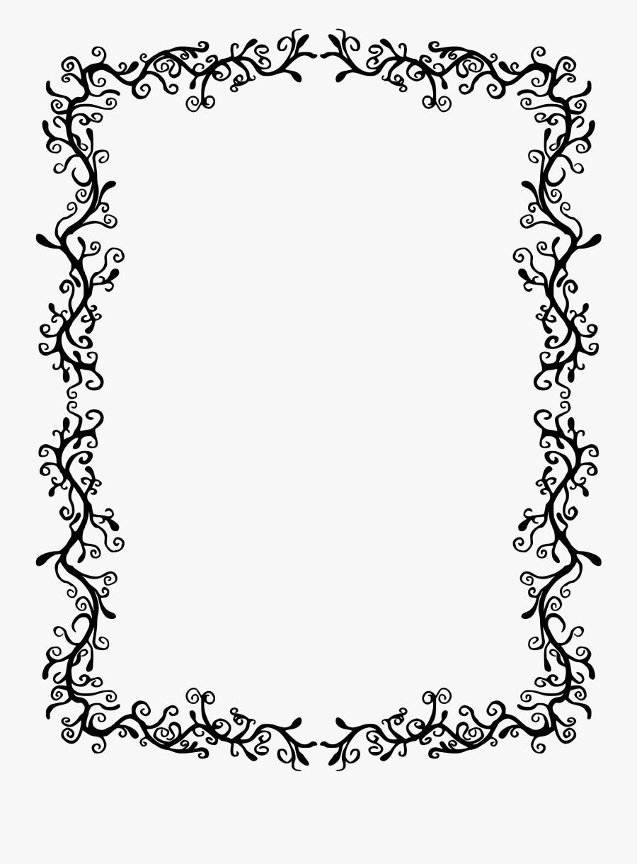 Clipart Transparent Black And White Flourish Clipart - Fall Leaf Border Black And White, Transparent Clipart