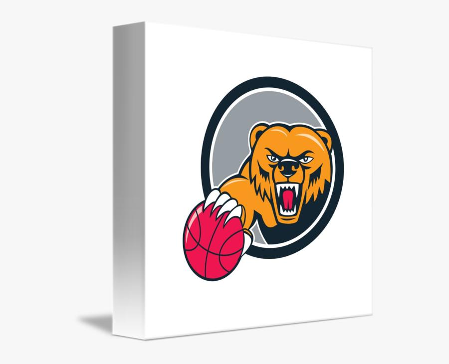 Grizzly Bear Angry Head Basketball Cartoon By Aloysius - Bear Head Clipart, Transparent Clipart