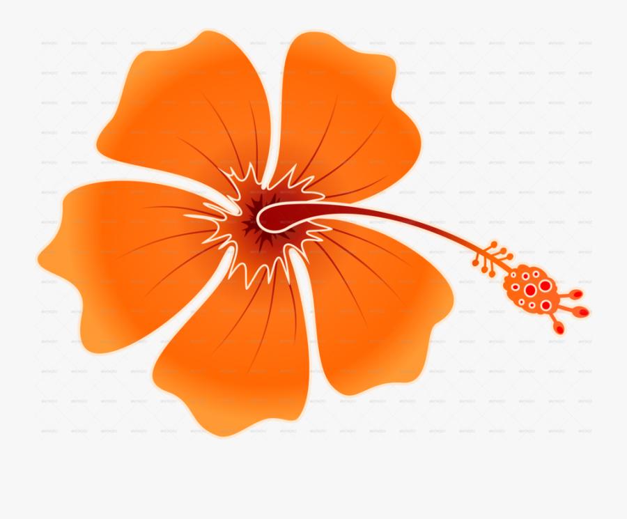 Hibiskis Png Clipart Shoeblackplant Roselle - Orange Hawaiian Flower Png, Transparent Clipart