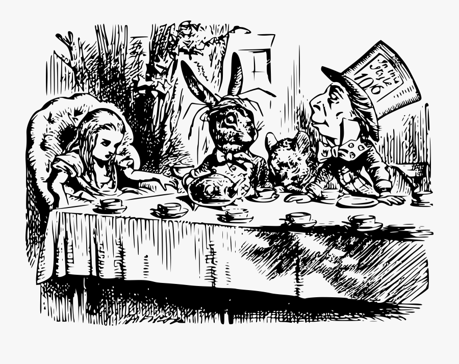 File - Teaparty - Svg - Wikimedia Commons - Mad Hatters Tea Party, Transparent Clipart
