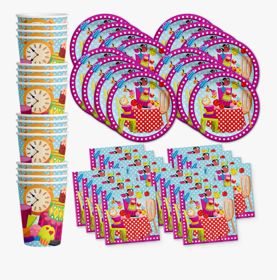 The Mad Hatter Tea Party Birthday Party Tableware Kit - Bowling Party Supplies, Transparent Clipart