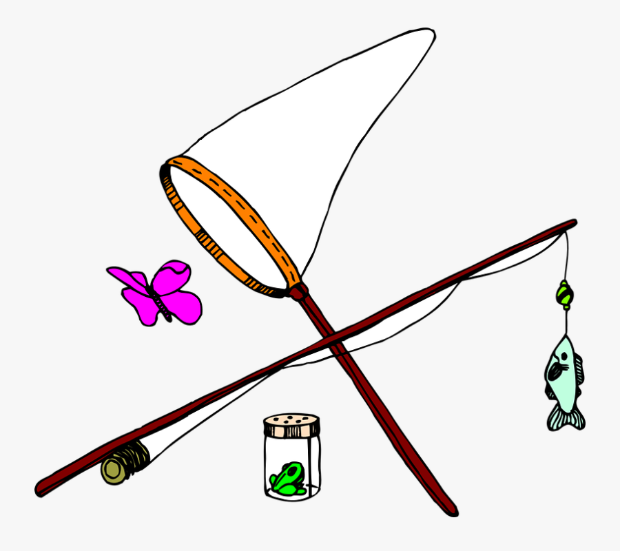 Butterfly Fish Net Insect Fishing Jar Pole - Butterfly Fishing, Transparent Clipart