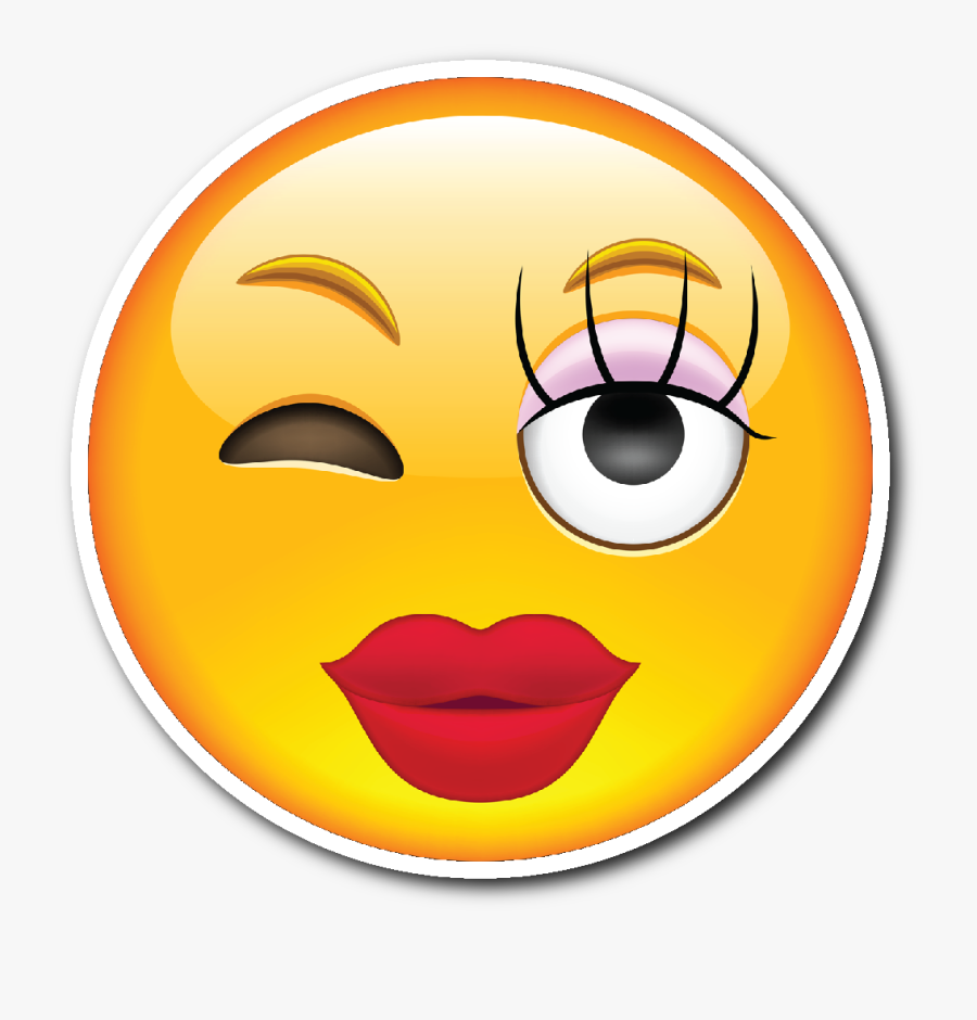 Girly Smiley Face Emoji Vinyl Die Cut Sticker - Girl Smiley With Tongue Out, Transparent Clipart