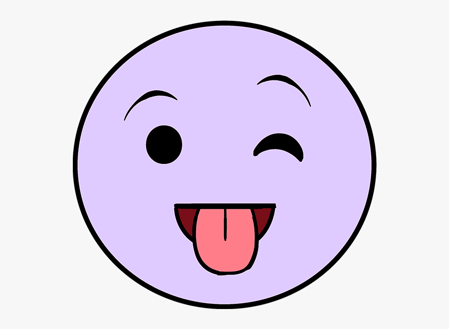 How To Draw Tongue Out Emoji - Transparent Smiley Face, Transparent Clipart