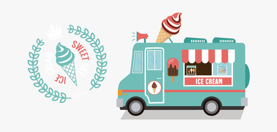 Transport,vehicle,food Truck,motor Vehicle,mode Of - Branding Ice Cream Of The Food Trucks, Transparent Clipart