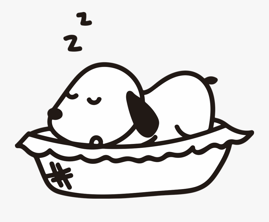 Dog, Pet, Puppy, Sleep, Sleeping, Cute, Adorable - Dog Cartoon Sleep Black And White, Transparent Clipart