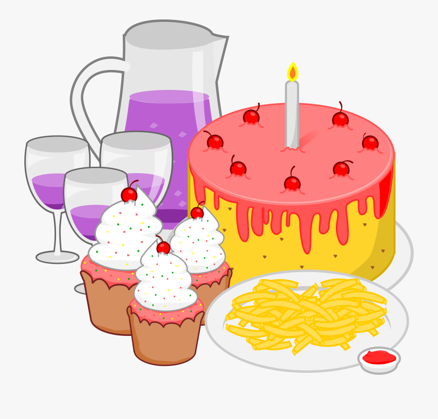 Foods Clipart Birthday - Birthday Party Food Clipart, Transparent Clipart