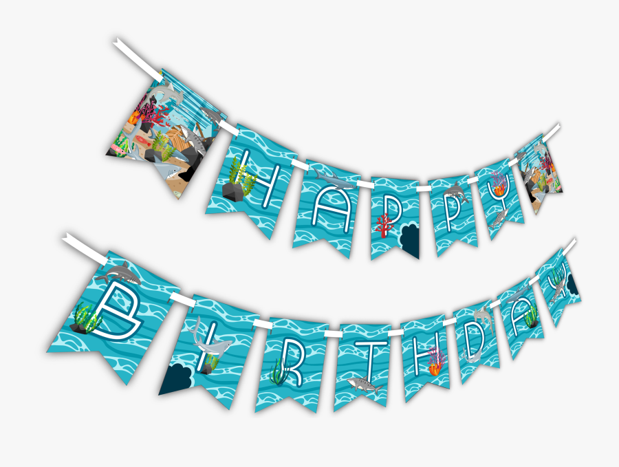 "Shark ""happy Birthday - Banner, Transparent Clipart"