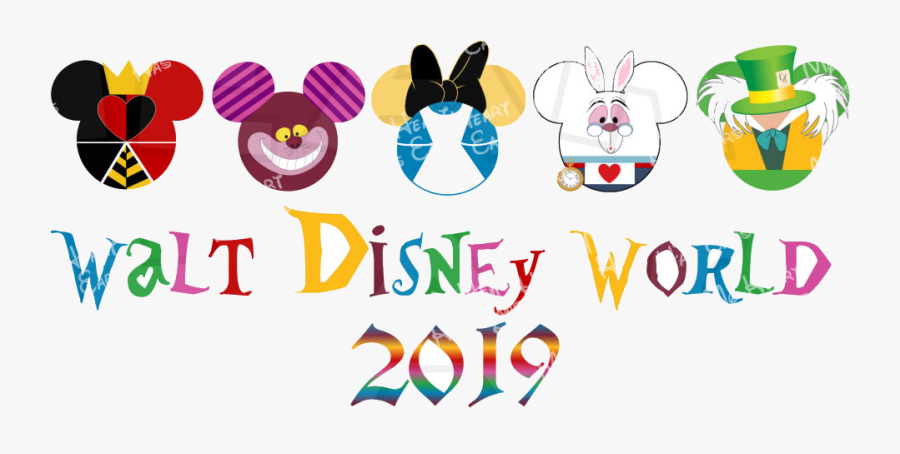 Disney World Walt Alice In Wonderland Mickey Heads - Alice In Wonderland Mickey Head, Transparent Clipart