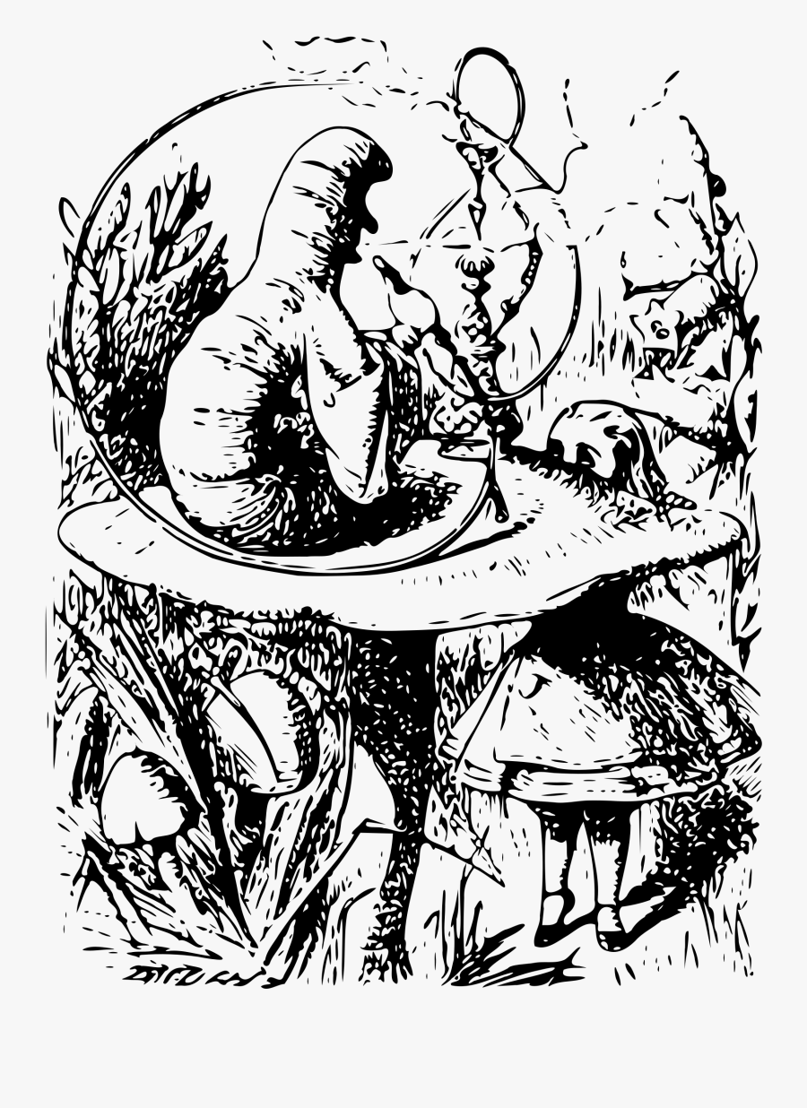 Alice In Wonderland - Alice In Wonderland Book Caterpillar, Transparent Clipart