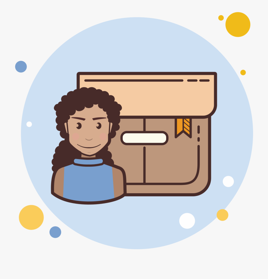 Long Curly Hair Girl Product Box Icon - Girl With Brown Curly Hair And Glasses, Transparent Clipart