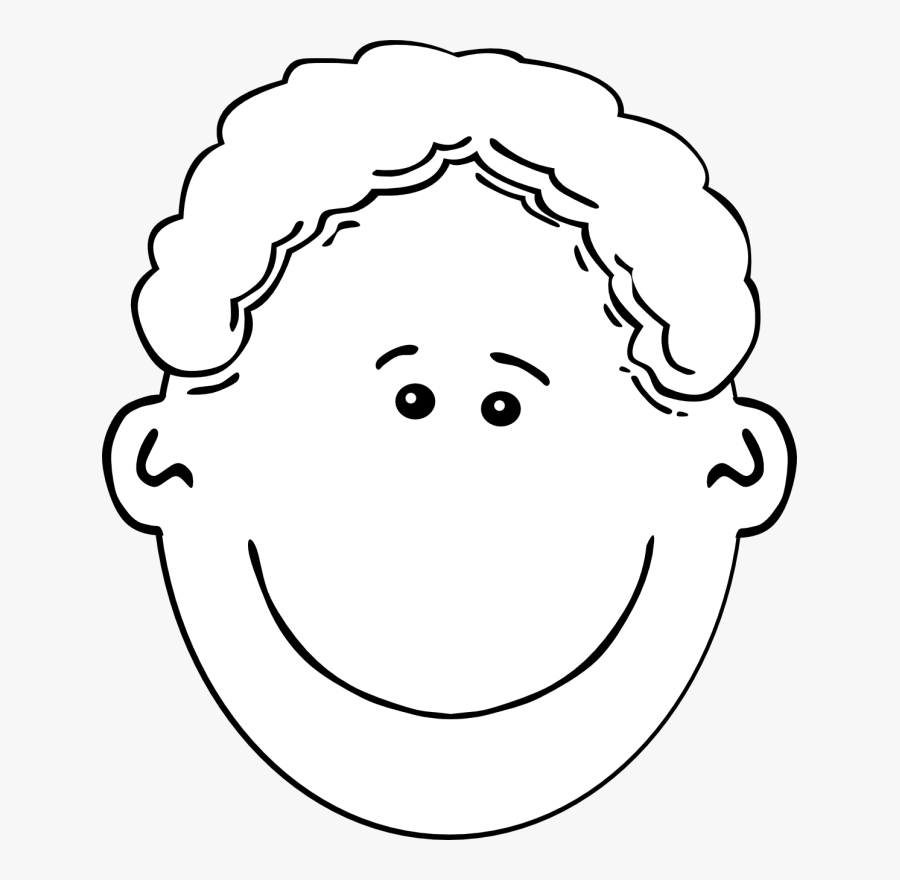 Happy Face Boy Clipart Black And White, Transparent Clipart