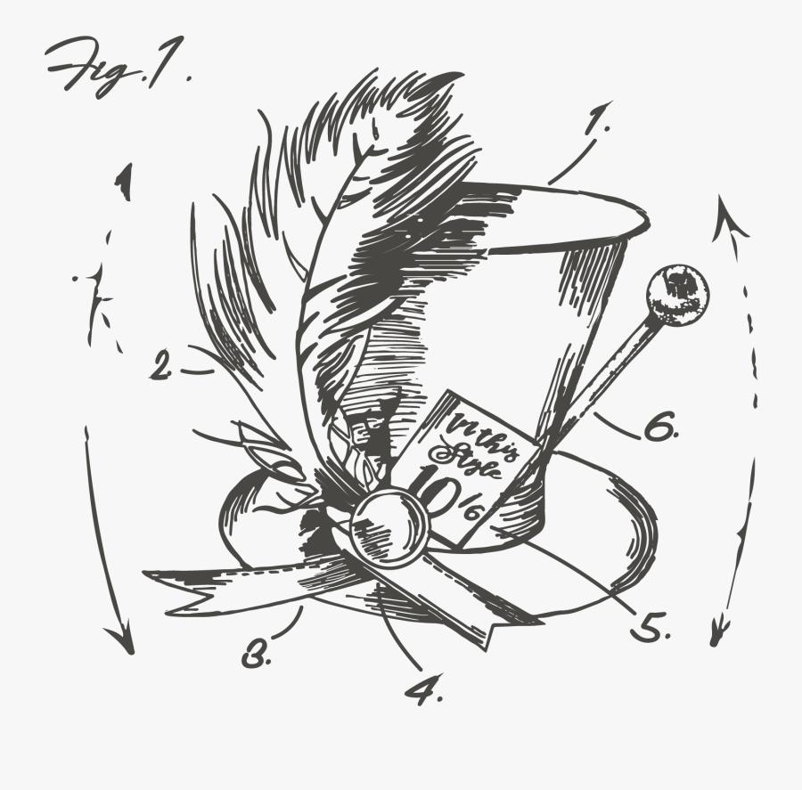 Transparent Mad Hatter Hat Png - Alice In Wonderland Mad Hatter Drawing, Transparent Clipart