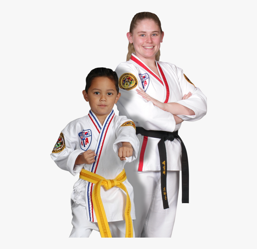 A Teen Girl And A Young Boy Martial Arts Students - Karate, Transparent Clipart
