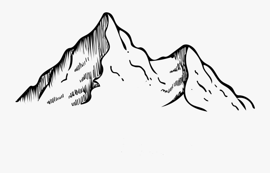 Mountain Range Line Drawing, Transparent Clipart
