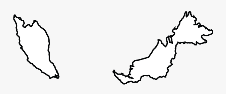 Map Of Malaysia Terrain Area And Outline Maps Of Black - Malaysia Country Map Outline, Transparent Clipart