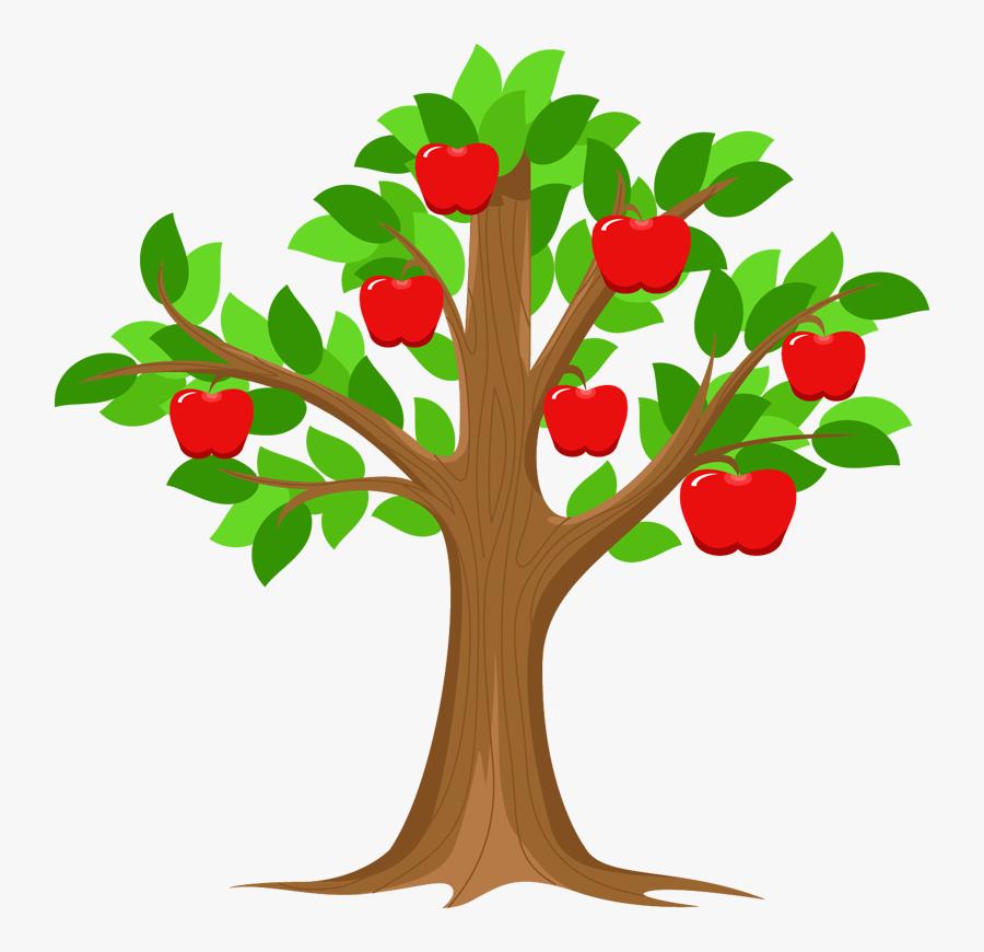 Branch Apple Id Tree Clip Art - Cartoon Apple Tree Clipart, Transparent Clipart