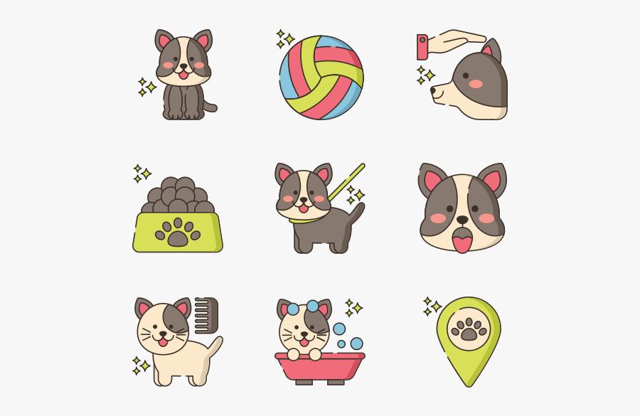 Pet Grooming Icons Vector, Transparent Clipart
