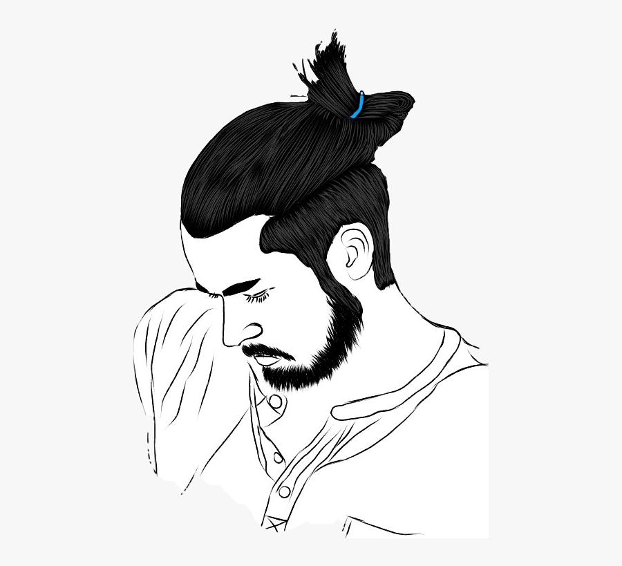 #man #boy #guy #longhair #drawing #art #manbun - Man Long Hair Drawing, Transparent Clipart
