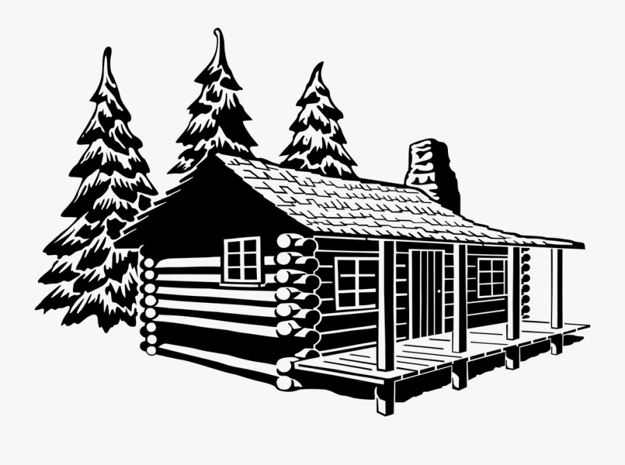 Cabin Log Cabin Log Home Rust - Cottage Clipart Black And White, Transparent Clipart