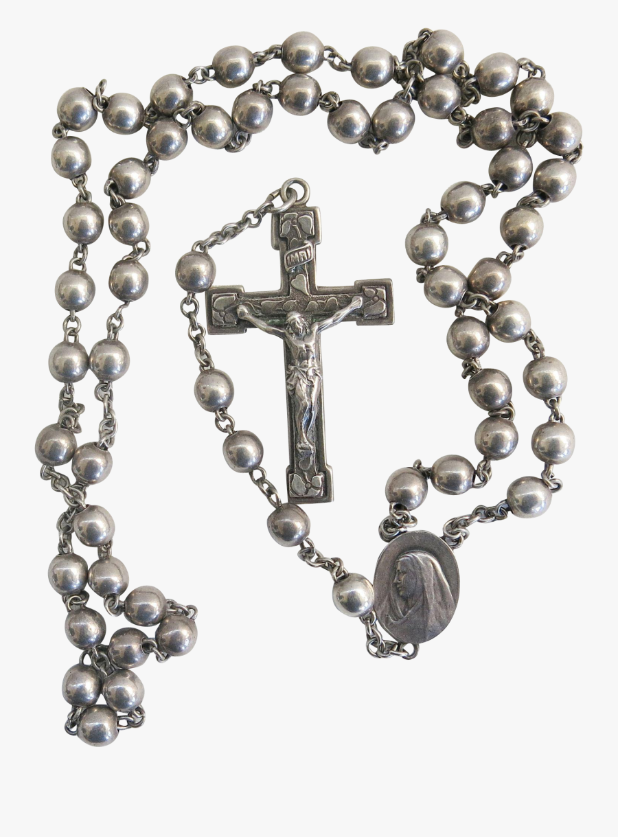 Vintage Sterling Silver Rosary, Transparent Clipart