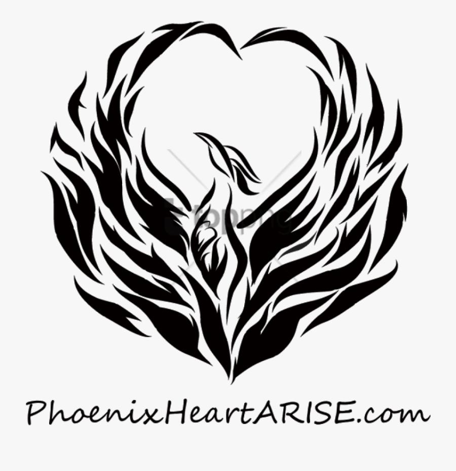 Phoenix Black And White Png - Black And White Phoenix Bird, Transparent Clipart