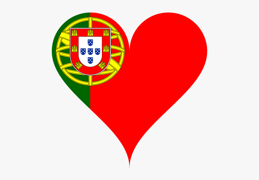 Heart, Love, Portugal, Flag, Coat Of Arms, Heart Shaped - Portugal Flag With Name, Transparent Clipart