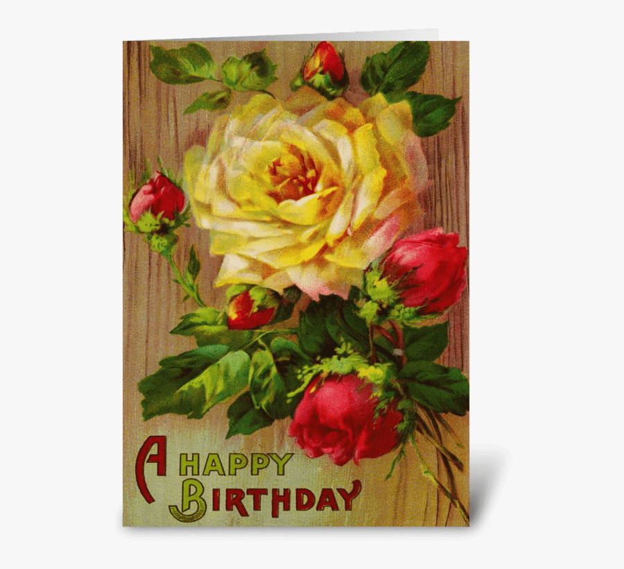 Vintage Rose Greeting Card - Flower Rose Birthday Cards, Transparent Clipart