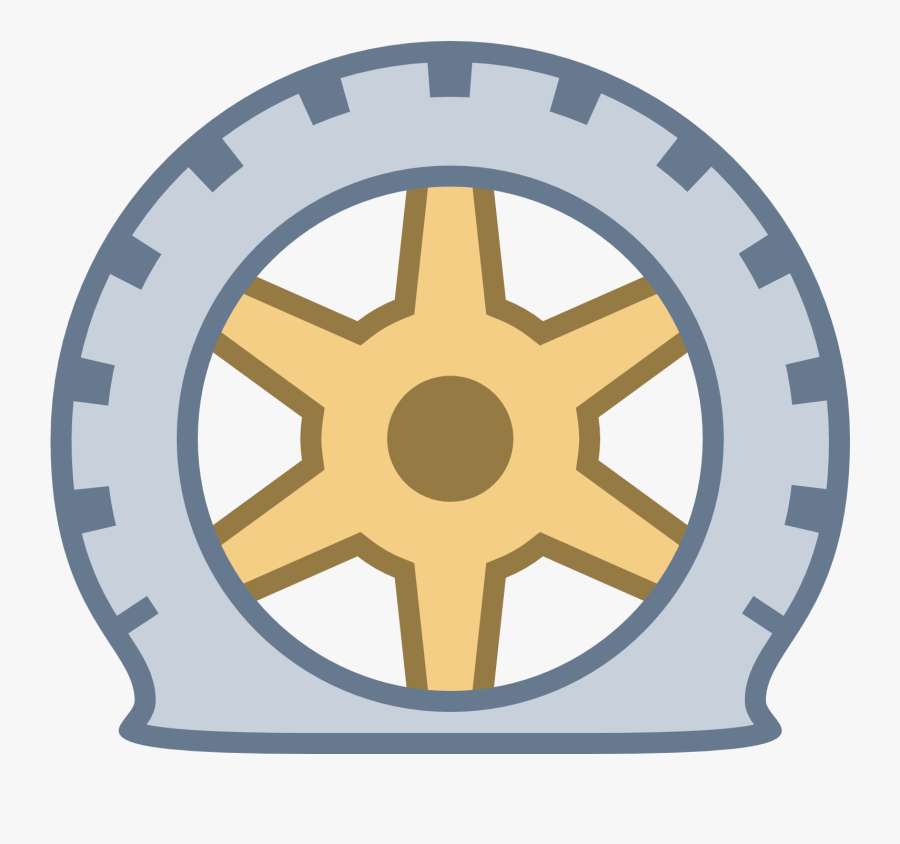 Wheel Clipart Flat Tire - Ship Steering Wheel Line Art, Transparent Clipart