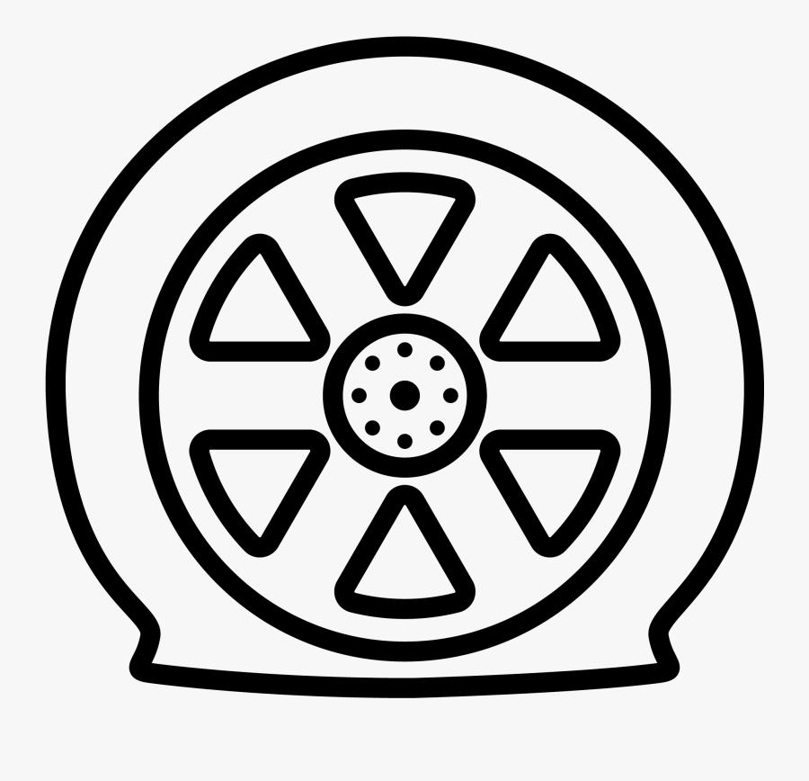 Flat Tire - Car Wheel Drawing Simple, Transparent Clipart