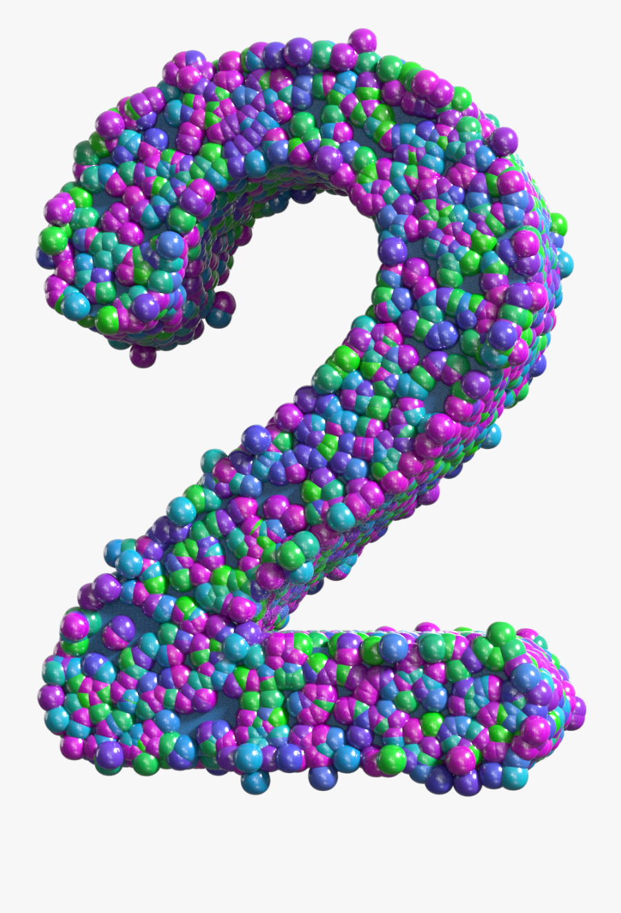 Colorful Number Two Transparent Png Clip Art Image - Transparent Colorful Numbers, Transparent Clipart