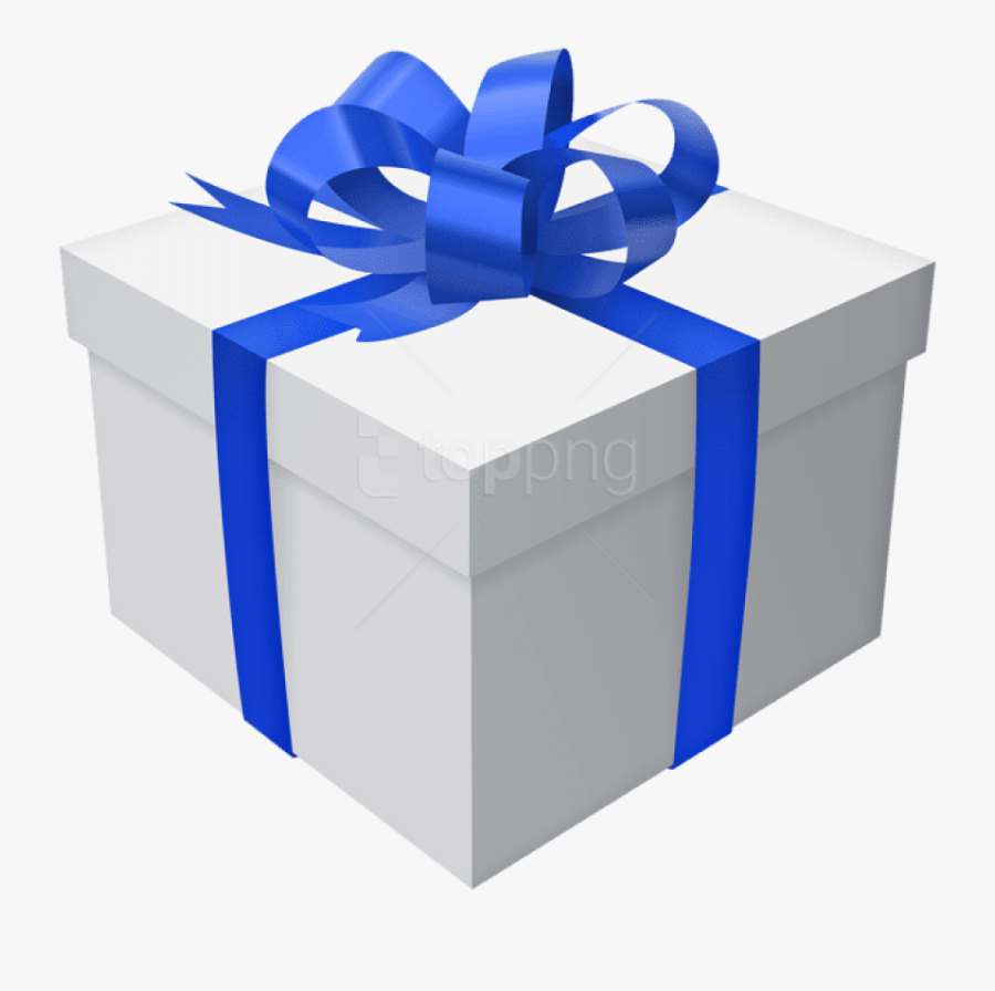 Download With Bow Png - Blue Gift Box Png, Transparent Clipart