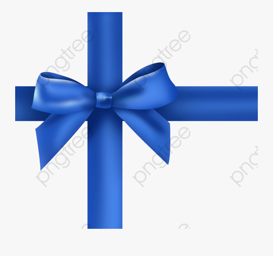 Blue Ribbon Bow Png - Gift Pack With Ribbon, Transparent Clipart