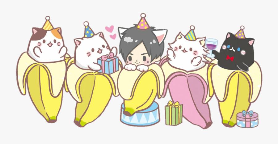 #scbanana #banana #bananya #cat #birthday #party #gifts - Bananya Cat Party, Transparent Clipart