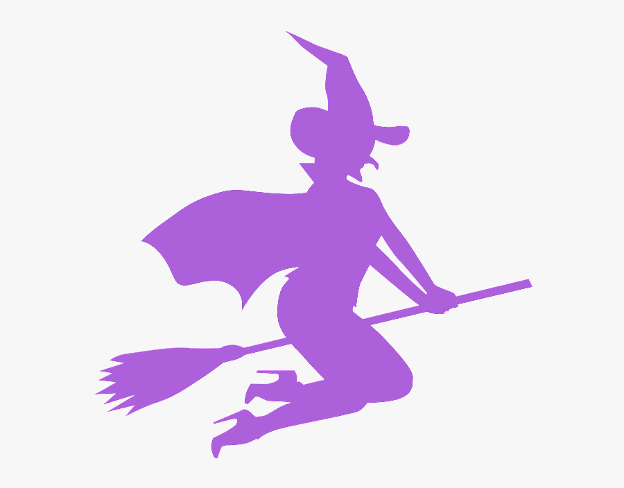 Pink Witch On Broom, Transparent Clipart