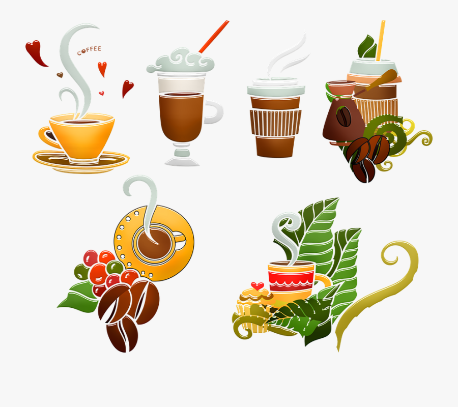 Coffee Drinks, Hot Coffee, Ice Coffee, Coffee Beans - Illustration, Transparent Clipart