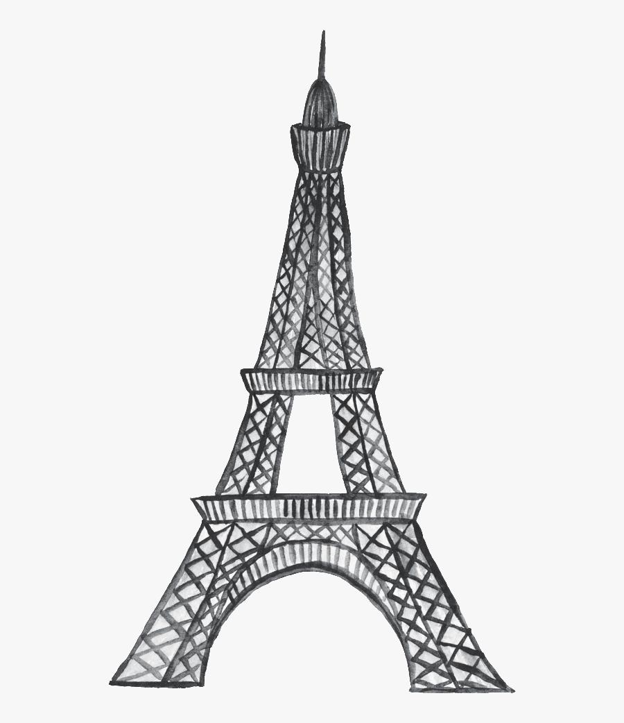 Hand Painted Short Fashion Paris Cartoon Transparent - Eiffel Tower Black And White Printable, Transparent Clipart