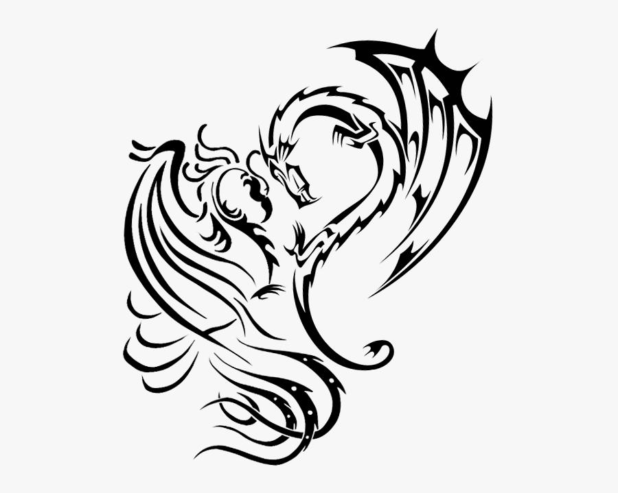 Tattoo Phoenix Dragon Art - Dragon Phoenix Tribal Tattoo, Transparent Clipart