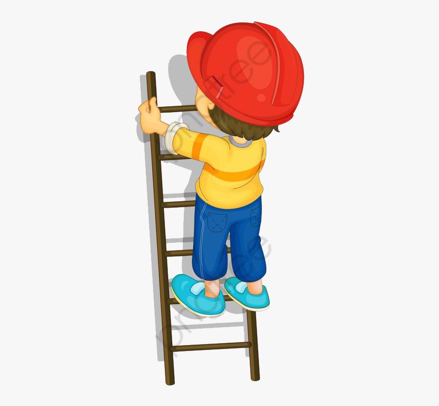 Boy Climbing A Ladder - Boy Climbing Ladder Clipart, Transparent Clipart