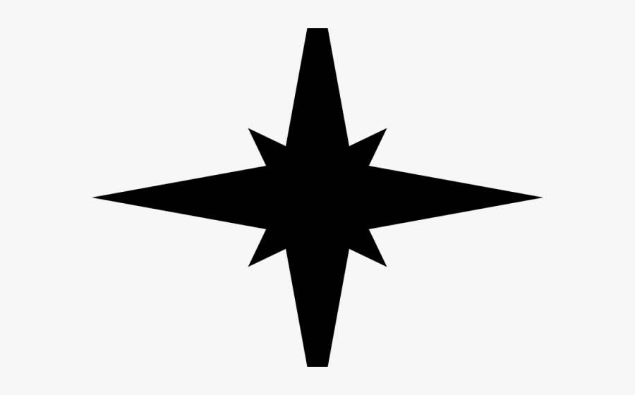 Silhouettes Clipart Christmas Star - Simple Cool Compass Rose, Transparent Clipart