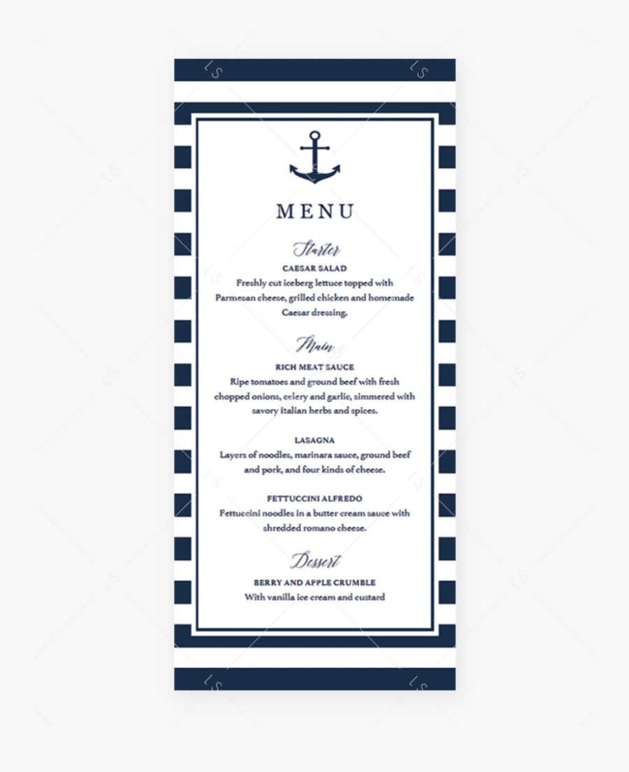 Editable Menu Cards Template Nautical Theme By Littlesizzle - Baby Shower Menu Card, Transparent Clipart