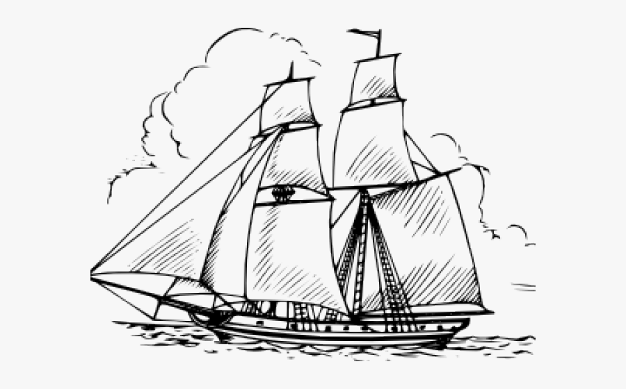 Sailing Ship Clipart School - Boat On Ocean Drawing, Transparent Clipart