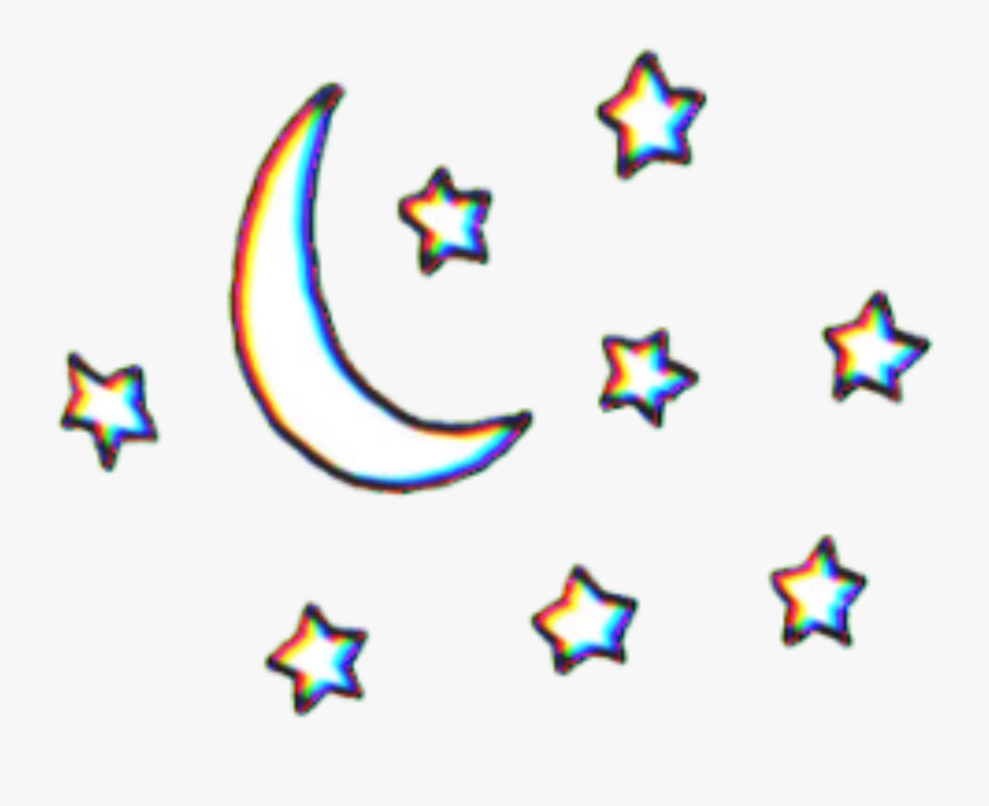 #glitch #planets #planet #stars #tumblr #aesthetic - Moon And Stars Transparent, Transparent Clipart