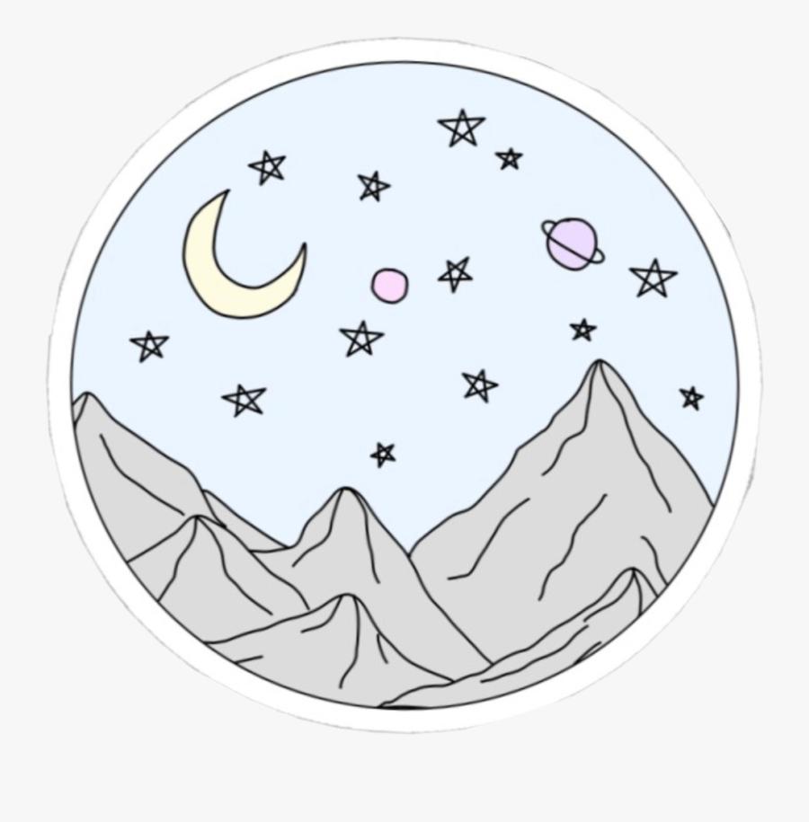 #vsco #aesthetic #mountain #stars #moon #planets #circle - Vsco Mountain Stickers Black, Transparent Clipart