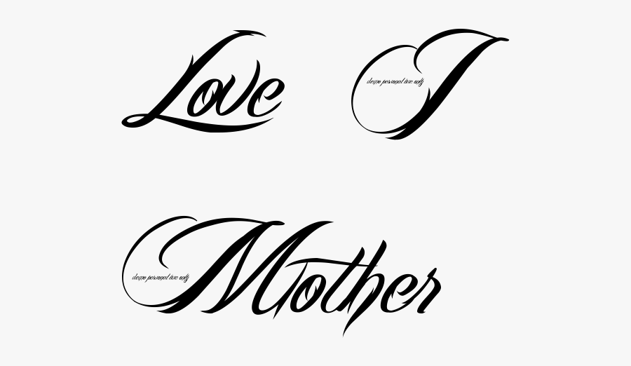 Love I Mother Tattoo In Billy Angel Font - Heart Love Tattoo Png, Transparent Clipart