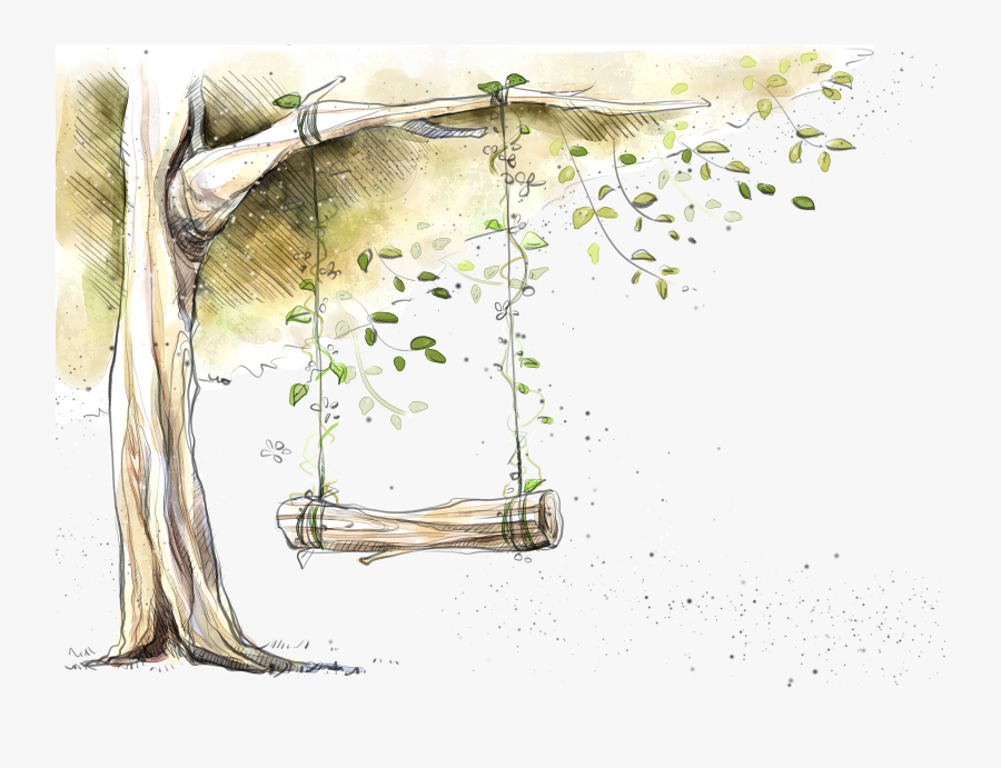 Swing Designer Tree - Watercolor Tree Flower Png, Transparent Clipart