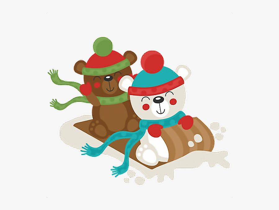 #bandaidgirl77 #christmas #snow #sled #bears #scarf - Winter Polar Bear Clip Art, Transparent Clipart