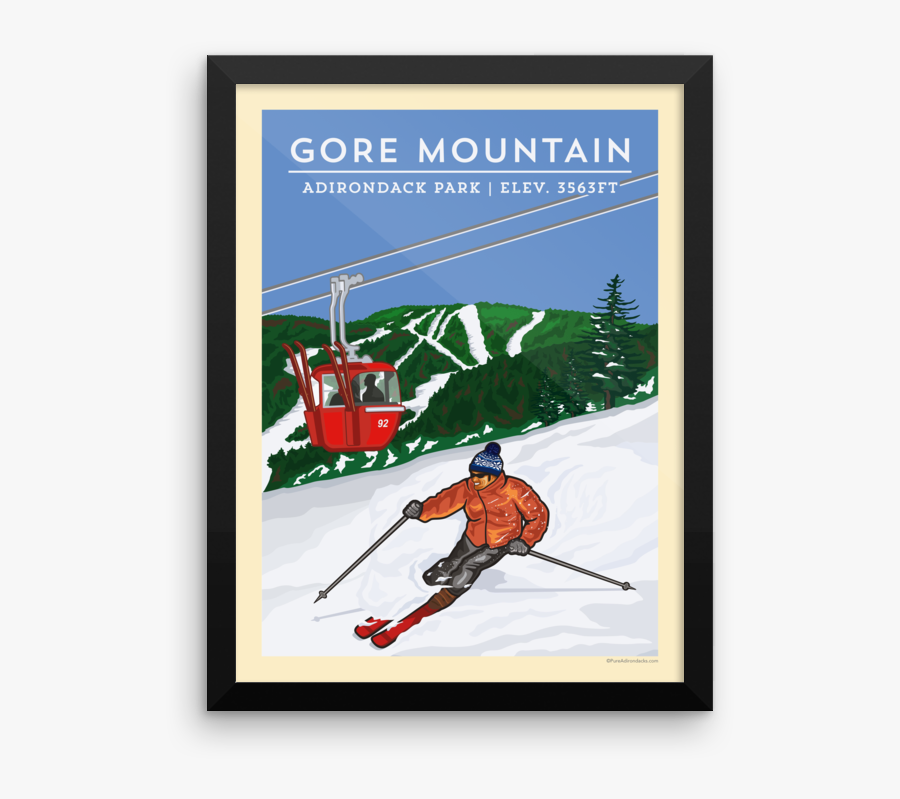 Skis Drawing Vintage Ski - Gore Mountain Poster, Transparent Clipart